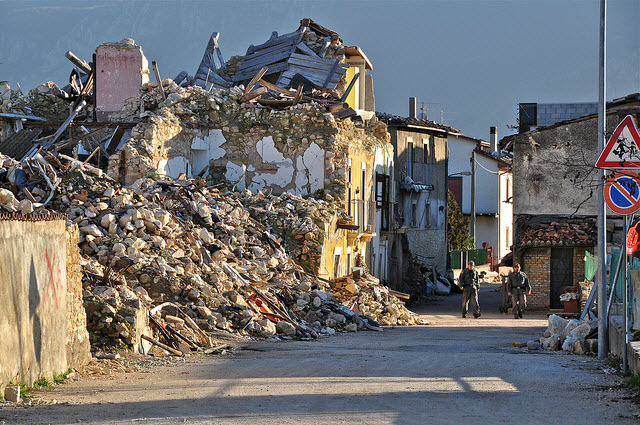 after the earthquake in L'Aquila Italy
